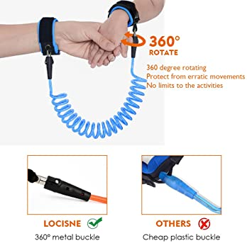 Locisne Child Leash Anti Lost Wrist Link, Safety Harness Toddler Leash for Outdoor Activities, 2 Pack, 5.9ft (Blue+Or...