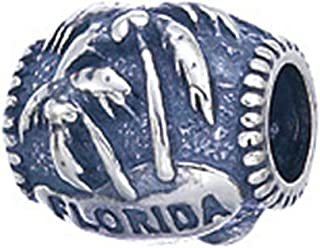 Sterling Silver Florida Palm Trees Pandora Compatible Bead/Charm