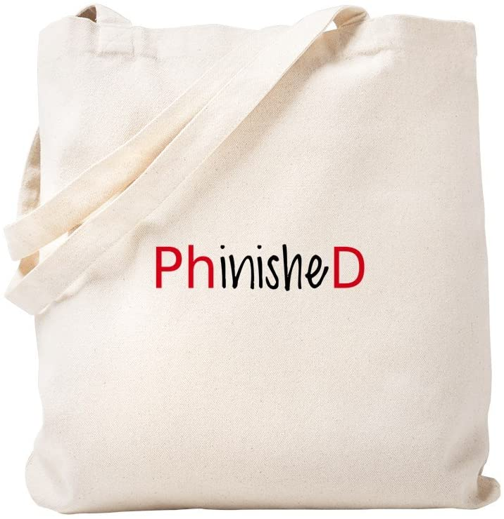 CafePress Phinished, Phd Graduate Tote Bag Natural Canvas Tote Bag, Reusable Shopping Bag