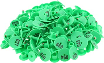 100PCS Numbered Livestock Ear Tag for Pig Cow Cattle Goat Sheep, Safe to Animals; Brass Ear Stud Never Rust - Green