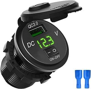 Wallfire Snel opladen 3.0 USB auto lader bus digitaal display voltmeter USB lader bus met AAN-UIT-schakelaar voor auto mar...