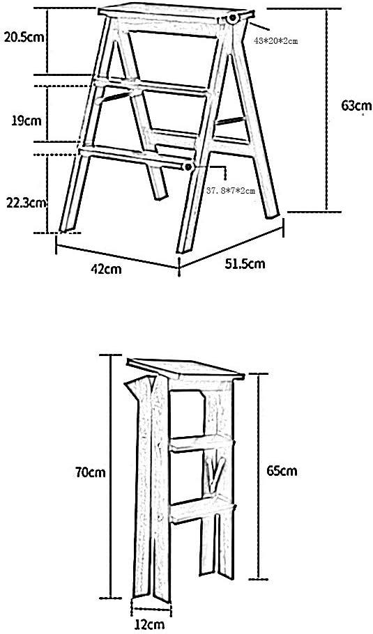 HAOHAO Pliante Échelle Tabouret Chêne Espace Multifonctionnel Saving Accueil Cuisine Salon Chaise Haute Tabouret (Color : 1) 2