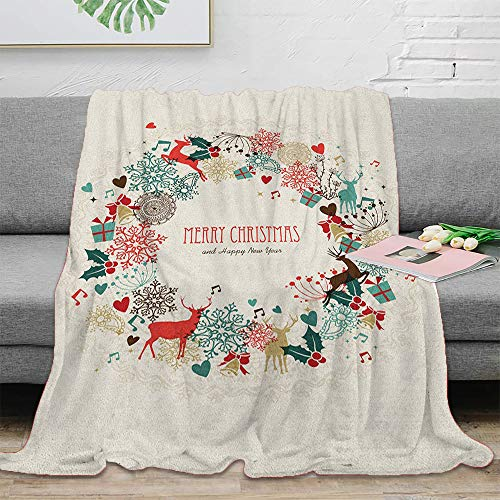 Christmas Indoor and Outdoor Blanket 50' x 70' Vintage Garland Inspired Round with Hand Drawn Style Cute Seasonal Figures Print Christmas Decoration for Camping, Travel Multicolor