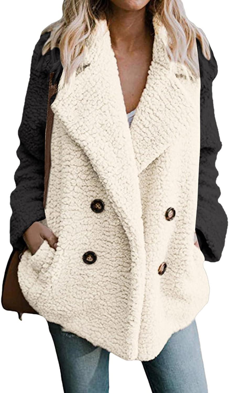 Womens Casual Jacket Long Sleeve Winter Warm Lapel Fox Faux Fur Coat Jacket Overcoat Outwear with Pockets