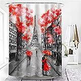 XCBN Jardín Flores Paisaje Cortinas de Ducha decoración Tela Impermeable Cortina de baño mamparas de Puerta de baño Lavable A21 150x180cm