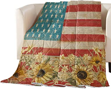 Comforter 90x102 inch All Season Bedding Comforter Cover Independence Day American Flag Farm Sunflower On Wood Grain Ultra So