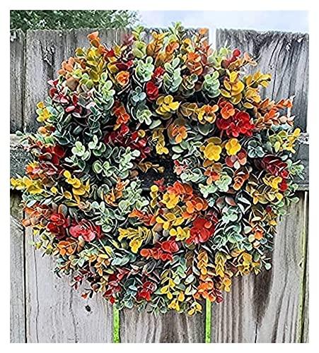 Marco de la guirnalda de otoño para la puerta delantera afuera, caída de la casa de la casa de la granja Decoración de la corona de Navidad Festival Celebración, guirnalda floral para las gracias