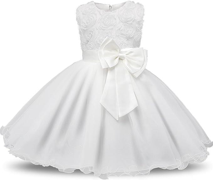 6970 opiniones para NNJXD Vestido de Fiesta de Princesa con Encaje de Flor de 3D sin Mangas para
