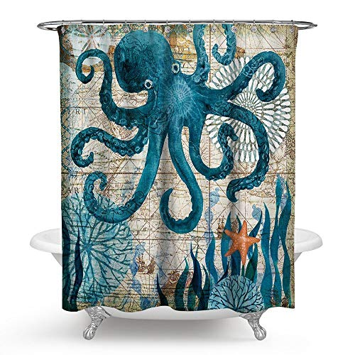 Ruiuzioong Ruiuzi Badezimmer-Duschvorhang Ozean Kreatur Landschafts-Duschvorhänge Stoff Badezimmer Vorhang Langlebig Wasserdicht & schimmelresistent Badvorhang-Set (Octopus, 180x180)