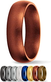 SafeRingz Metallic Silicone Wedding Ring, Made in The USA, Men or Women, Size 4-18