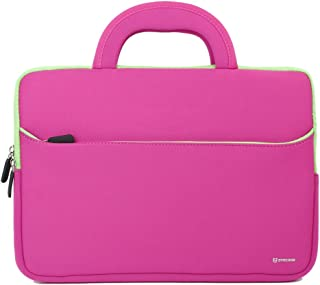 11.6-12.2 inch Tablet Sleeve, Evecase 11.6~12.2 inch Tablet/Notebook/Chromebook/Ultrabook Sleeve, Ultra-Portable Neoprene Zipper Carrying Case Bag with Accessory Pocket - Hot Pink/Green Trim