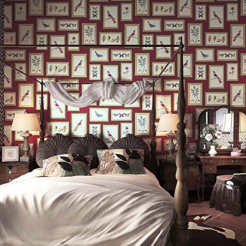 2 Roll Art Frame Muursticker, Bloem en Vogel fotolijst Behang voor Woonkamer Slaapkamer Kantoor (10×0.53m), Diep Rood
