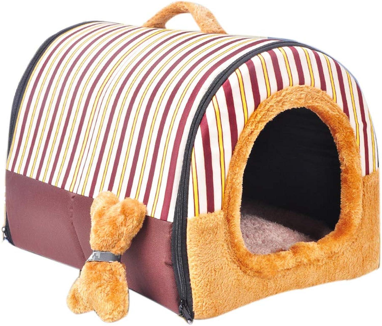 LiRongPing Portable home pet nest, small and medium cat, dog, threepiece suit, pet nest + mat + toy (Size   S)