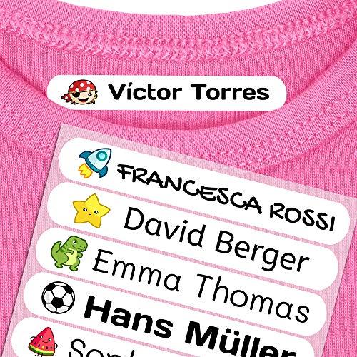50 Etiquetas Termoadhesivas Personalizadas, de 6 x 1 cms, para marcar la ropa. Color Blanco (Para Planchar)