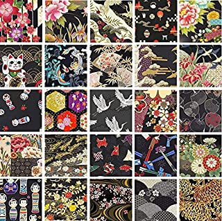 Black Asian Japanese Quilt Fabric Charms; 40-5 Inch Squares - Beautiful Selections