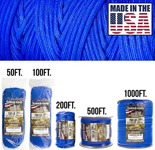Orange Safety MIl-C-5040-H - 100/% Nylon Safety TOUGH-GRID 750lb Neon Orange Paracord//Parachute Cord 200Ft Genuine Mil Spec Type IV 750lb Paracord Used by US Military - Neon