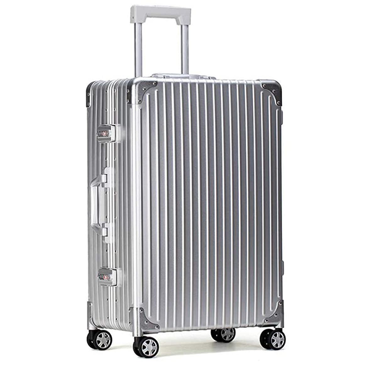 出来事ギャラントリー国民スーツケース軽量耐久性のあるハードシェルアルミマグネシウム合金キャビンハンド荷物スーツケーストラベルバッグ4輪&内蔵コンビネーションロック 42*25*61cm