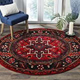 Safavieh Vintage Hamadan Collection VTH211A Oriental Traditional Persian Non-Shedding Stain Resistant Living Room Bedroom Area Rug, 5'3' x 5'3' Round, Red / Multi