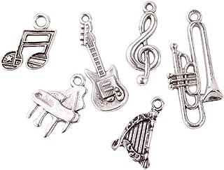 Pandahall 5 Sets(6pcs/set) Musical Instruments Antique Silver Tibetan Style Alloy Pendants, Lead Free