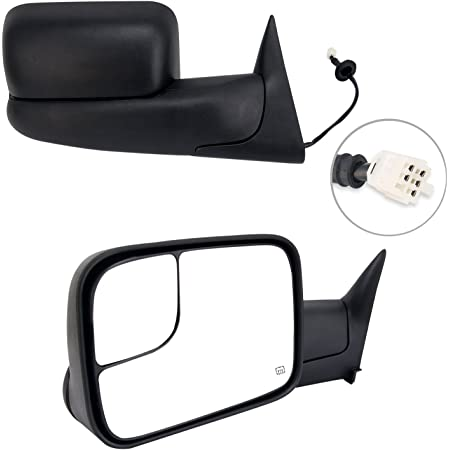 ECCPP Towing Mirrors W//Brackets Replacement fit for 1998 1999 2000 2001 Dodge Ram 1500 2500 3500 Truck Power Heated Black Manual Side View Mirrors
