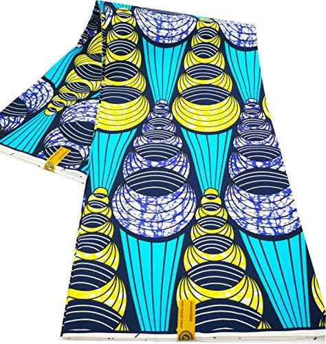 Tela de poliéster con impresiones de cera Ankara Real Wax de 6 yardas de tela africana