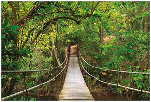 Wallario Acrylglasbild Hängebrücke im Urwald grüner Dschungel - 60 x 90 cm in Premium-Qualität: Brillante Farben, freischwebende Optik