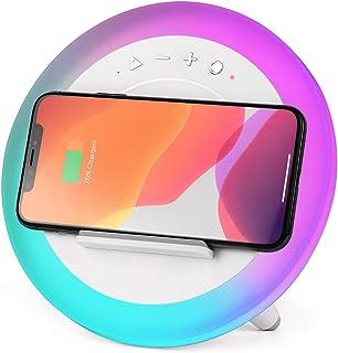 WILIT Lámpara de noche Qi, carga inalámbrica, altavoz Bluetooth, soporte para teléfono móvil, luz de ambiente RGB, luz nocturna LED con 7 modos de respiración, color blanco, A21