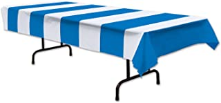 Beistle Stripes Tablecover, 54 by 108-Inch, Blue/White