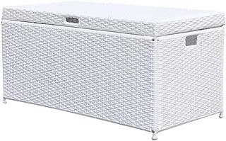Outdoor 70 Gallon Wicker Deck Storage Box Color: White