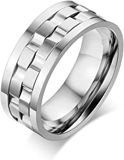 Mealguet Jewelry Stainless Steel Brick Gear Design Spinner Men's Wedding Rings Band, 9mm Width, Tone