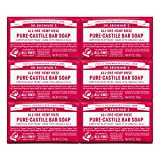Dr. Bronner's - Pure-Castile Bar Soap (Rose, 5 ounce, 6-Pack) - Made with Organic Oils, For Face, Body and Hair, Gentle and Moisturizing, Biodegradable, Vegan, Cruelty-free, Non-GMO