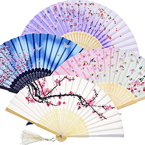 Faltbare Handfächer aus Bambus mit Quaste, für Damen, zur Wanddekoration, als Geschenk (weiße Kirsche, rosa Kirsche, blaue Kirsche und lila Kirsche), 4Stück