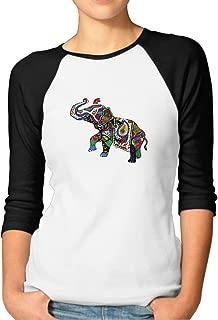 ZOENA Women's Three Quarter Sleeve Tshirts - Colorful India Treasure Elephant Black