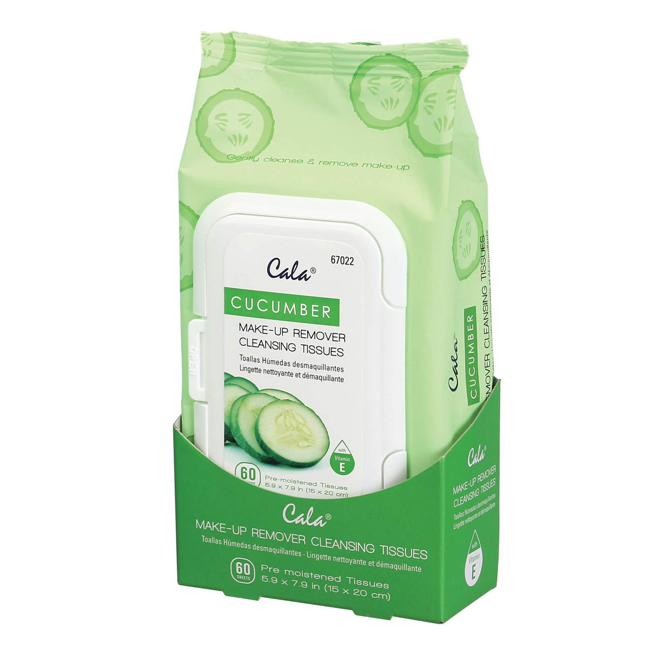Cala Cucumber make-up remover cleansing tissues 60 count, 60 Count : Beauty & Personal Care