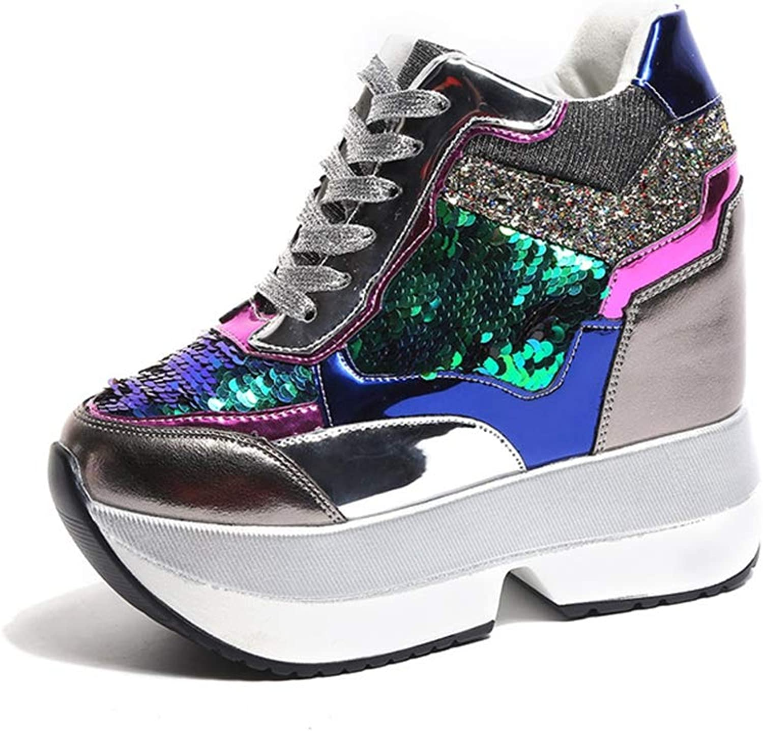 Hoxekle Women Luxury Platform Wedge shoes for Woman Height Increase shoes Woman Sneakers Casual shoes