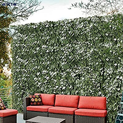 Windscreen4less Artificial Faux Ivy Leaf Decorative Fence Screen 4' x 14' Ivy Leaf Decorative Fence Screen