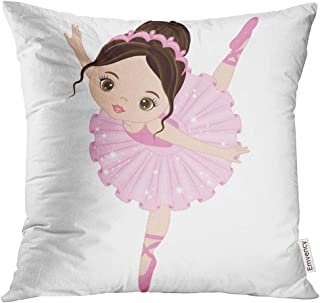 Emvency Throw Pillow Cover Ballet Cute Little Ballerina Dancing Girl in Pink Dress Cartoon Decorative Pillow Case Home Decor Square 18x18 Inches Pillowcase