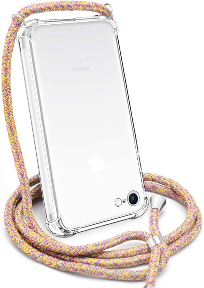 Crossbody Case for iPhone SE 2020,Crossbody Case for iPhone 7,Crossbody Case for iPhone 8,YESPURE Clear TPU Soft Case Holder with Neck Cord Lanyard Strap-Clear - Rainbow Yellow