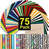 """CAREGY HTV Heat Transfer Vinyl Bundle: 75 Pack 12"""" x 10"""" Iron on Vinyl for T-Shirt, 57 Assorted Colors with HTV Accessories Tweezers for Cricut, Silhouette Cameo or Heat Press Machine"""