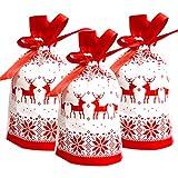 Weihnachten Geschenkbeutel mit Kordelzug,50 stücke Urlaub Rot Rentier Weihnachtsgeschenk Geschenk...