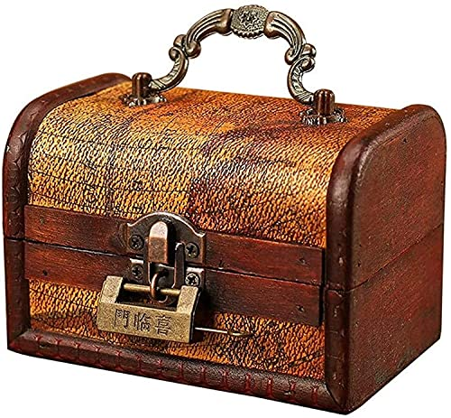 OH Caja de Maleta de Madera Vintage Tesoro Tesoro Mini Caja de Joyería con Cerradura de Metal Cajas Decorativas de Joyería Alta capacidad/Yellow Map / 12×8×8.5cm