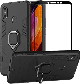 BetterAmy for Xiaomi Mi Max 3 Case,Hybrid Heavy Duty Armor Dual Layer Anti-Scratch Shockproof Defender Back Case Cover Tempered Glass Screen Protector,Black