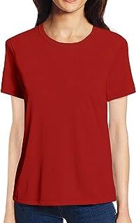 Pooplu Womens Plain Cotton Printed Round Neck Half Sleeves Multicolour Tshirt