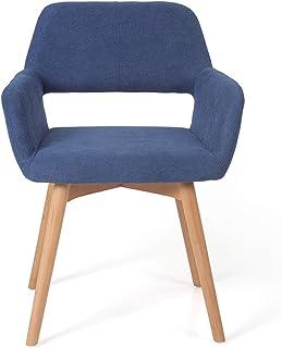 Irene House Silla de comedor moderna con patas de madera de haya. Silla de salón de diseño excepcional con respaldo y brazos de tela de lino (azul, 1)