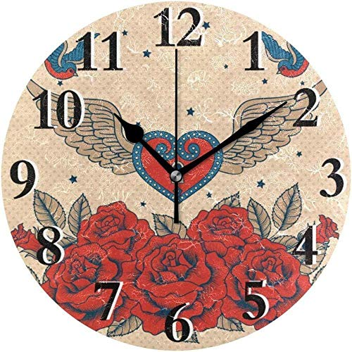 SXXXIT Wall Clock Round Rose Bird Love For Home Decor Living Room