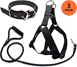 Jmxu's 3Pcs Adjustable Step-in Dog Harness and Leash Set with Matching Collar for Medium Large Dogs, 5 FT Durable Reflective Rope Leash with Padded Handle, Comfortable and Easy for Walking Training