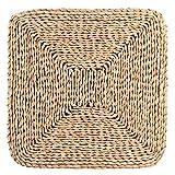 Oumefar Coussin Fait à la Main Pur Naturel ménage en Forme de carré épaissir sièges Coussin Pouf pour Tatami Zen Yoga thé cérémonie décoration 40x40x3cm
