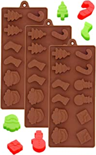 Set of 3 Christmas Holiday Silicone Chocolate Mold, Santa Claus, Snowman, Christmas tree and Stocking for Candy, Fondant, cake decoration and Ice cube tray