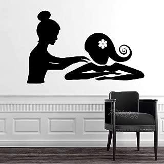 zhuzhuwen Hello Kitty Adhesivos De Pared Unisexspa Massage Therapy Relax Beauty Woman S Black Silhouette F Adhesivedecoraciones para El Hogar De Estilo Nórdico 57X35Cm