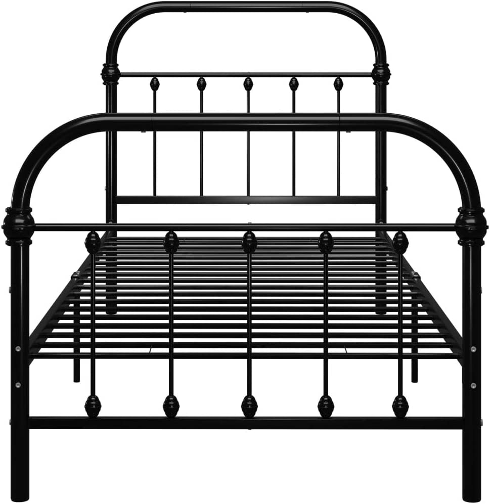 pedkit Doppelbett Metallbett Metall Rahmen Bett Jugendbett Metall Bettgestell Bett Sofa mit Lattenrost f/ür G/ästezimmer Schlafzimmer Schulen Bett In Schwarz//Wei/ß 140 x 200//100 /× 200cm